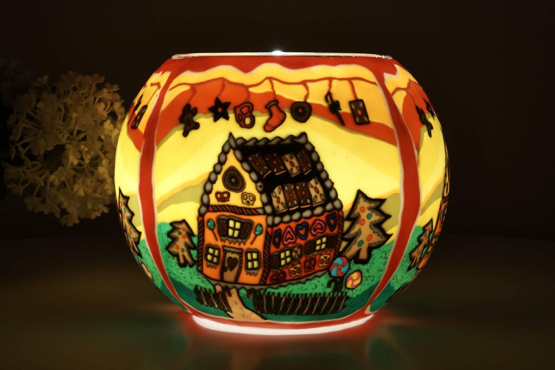 Leuchtglas 827 Lebkuchenhaus Ø15cm Dekoration Teelicht Windlicht Kerzenfarm Kerze - 2