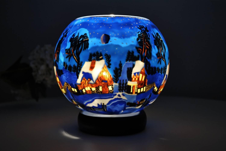 Leuchtglas Lampe 821 Winternacht in Kanada Ø15cm Dekoration Teelicht Windlicht Kerzenfarm - 2