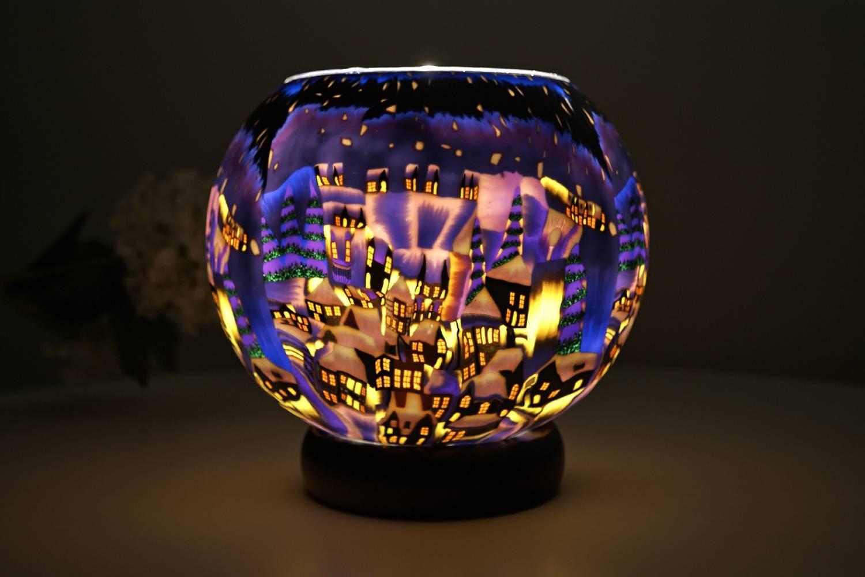 Leuchtglas Lampe 822 Snowy Town by Night Ø15cm Dekoration Teelicht Windlicht Kerzenfarm - 2