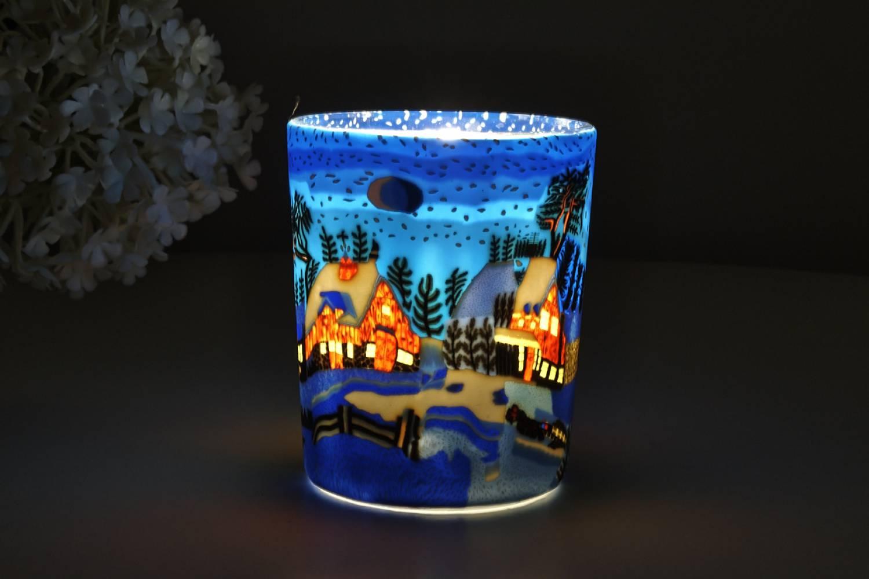 Leuchtglas für Teelicht 821 Winternight in Canada Ø5,8cm Teelichtleuchte Windlichthalter - 2
