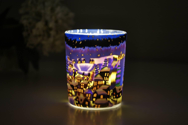 Leuchtglas für Teelicht 822 Snowy Town by Night Ø5,8cm Teelichtleuchte Windlichthalter - 2