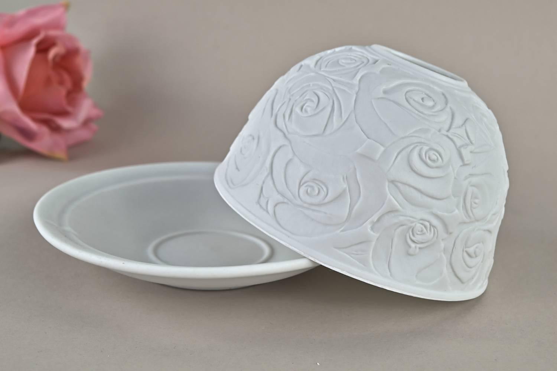Kerzenfarm Hahn Dome Light Nr. 30005 Rosen - Teelicht Windlicht Dekoration Porzellanteelicht - 2