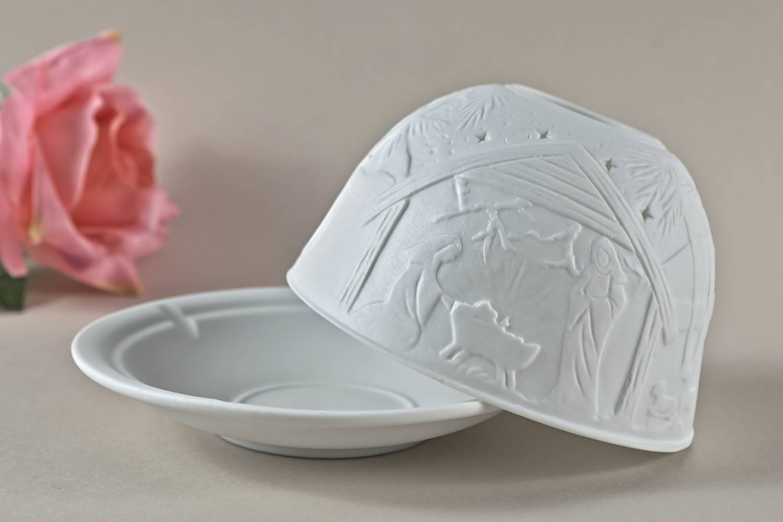Kerzenfarm Hahn Dome Light, Nr. 30016 Krippe - Teelicht Windlicht Dekoration Porzellanteelicht - 2