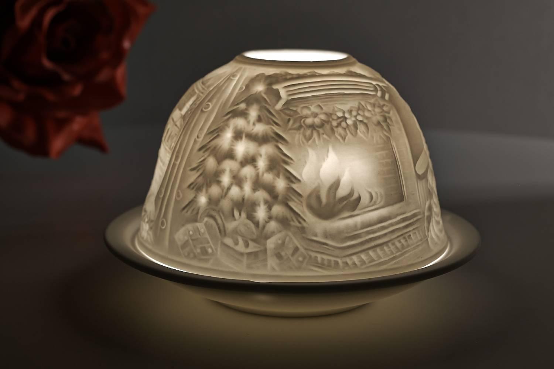 Kerzenfarm Dome Light, Nr. 30018 Kaminfeuer - Teelicht Windlicht Dekoration Porzellanteelicht - 2