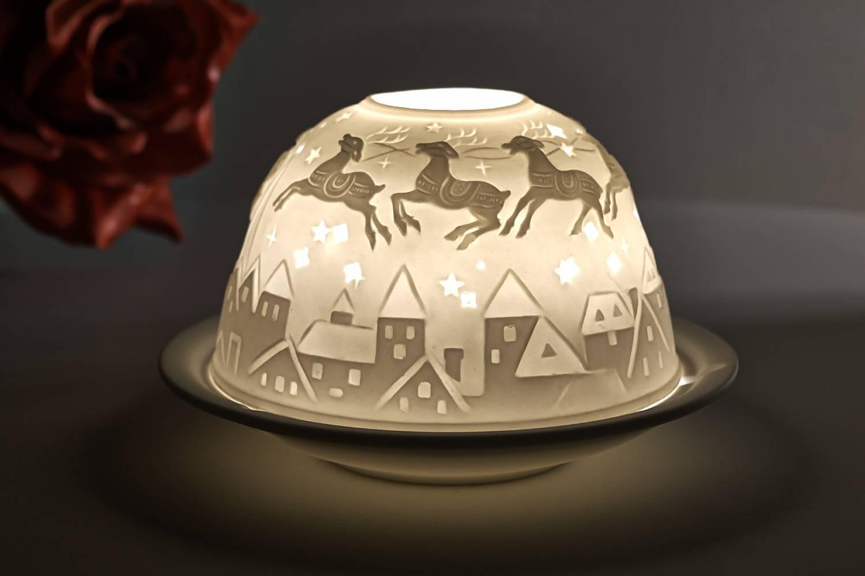 Kerzenfarm Dome Light Nr. 30031 Bescherung1 - Teelicht Windlicht Dekoration Porzellanteelicht - 2