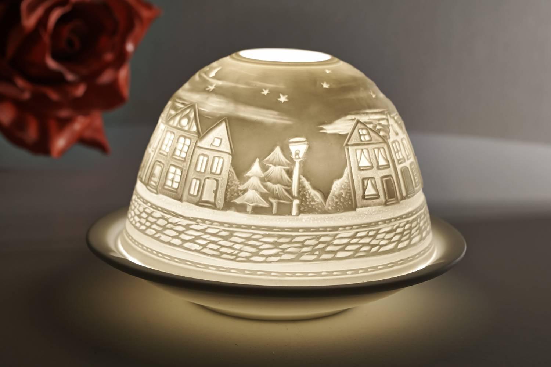 Kerzenfarm Dome Light Nr. 30034 Strasse bei Nacht - Teelicht Windlicht Dekoration Porzellanteelicht - 2