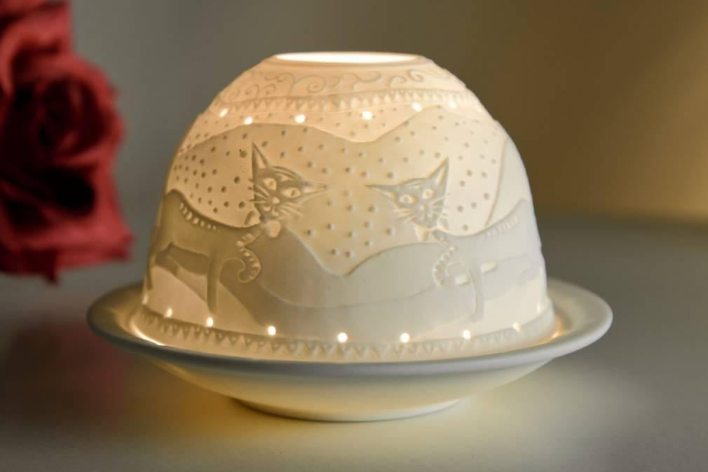 Kerzenfarm Dome Light Nr. 30041 Katzen - Teelicht Windlicht Dekoration Porzellanteelicht - 2