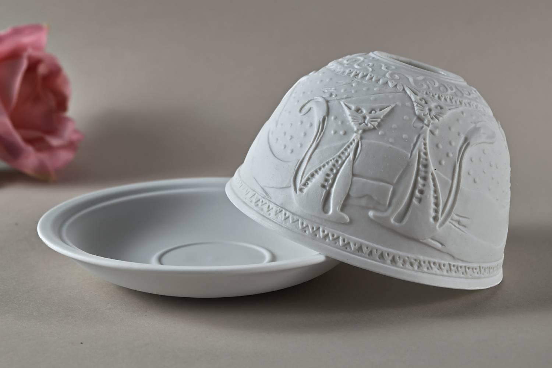 Kerzenfarm Dome Light Nr. 30041 Katzen - Teelicht Windlicht Dekoration Porzellanteelicht - 3