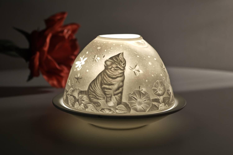 Kerzenfarm Hahn Dome-Light Nr.30049 Kätzchen - Teelicht Windlicht Dekoration Porzellanteelicht - 2