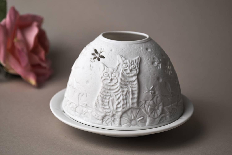 Kerzenfarm Hahn Dome-Light Nr.30049 Kätzchen - Teelicht Windlicht Dekoration Porzellanteelicht - 3