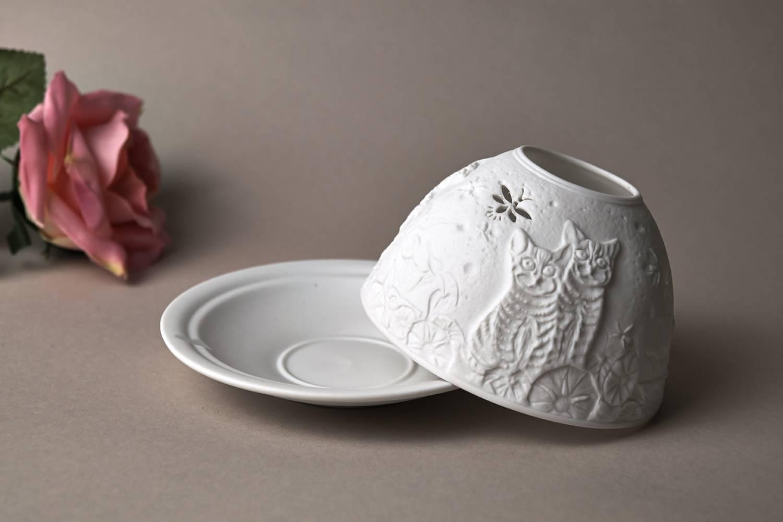 Kerzenfarm Hahn Dome-Light Nr.30049 Kätzchen - Teelicht Windlicht Dekoration Porzellanteelicht - 4