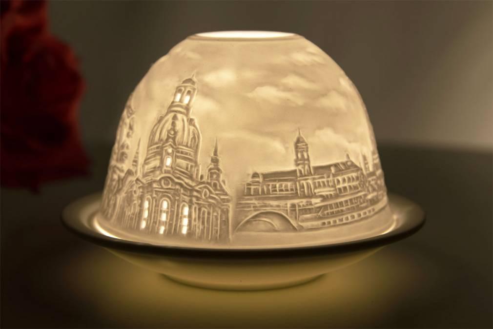 Kerzenfarm Hahn Dome-Light Nr. 30152 Dresden - Teelicht Windlicht Dekoration Porzellanteelicht - 2