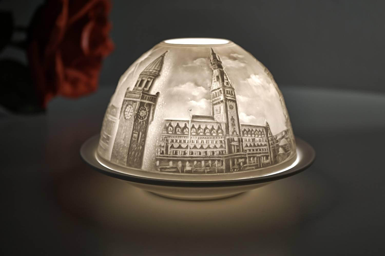 Kerzenfarm Hahn Dome-Light Nr. 30153 Hamburg - Teelicht Windlicht Dekoration Porzellanteelicht - 2