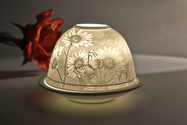 Kerzenfarm Dome Light Nr. 30166 Margeriten - Teelicht Windlicht Dekoration Porzellanteelicht - 2