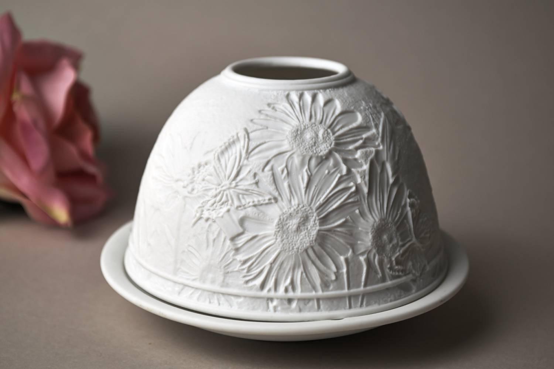 Kerzenfarm Dome Light Nr. 30166 Margeriten - Teelicht Windlicht Dekoration Porzellanteelicht - 3