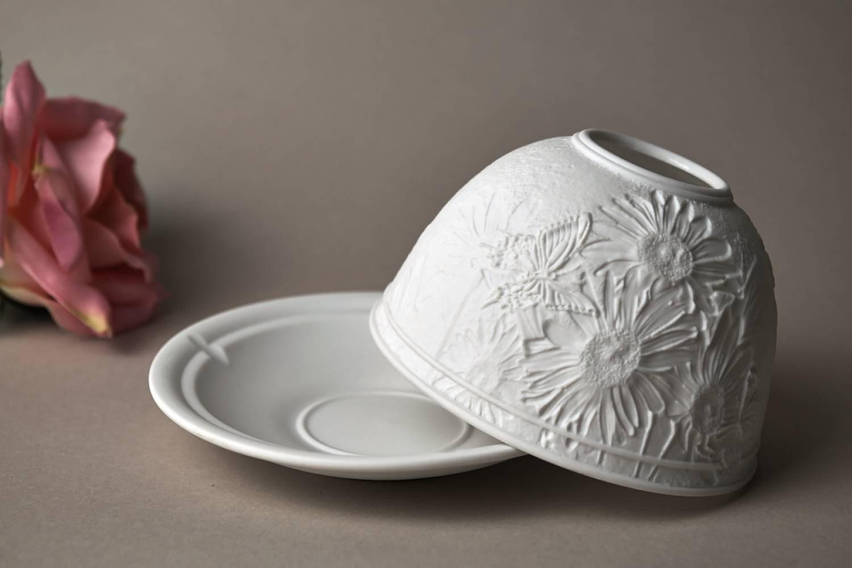 Kerzenfarm Dome Light Nr. 30166 Margeriten - Teelicht Windlicht Dekoration Porzellanteelicht - 4