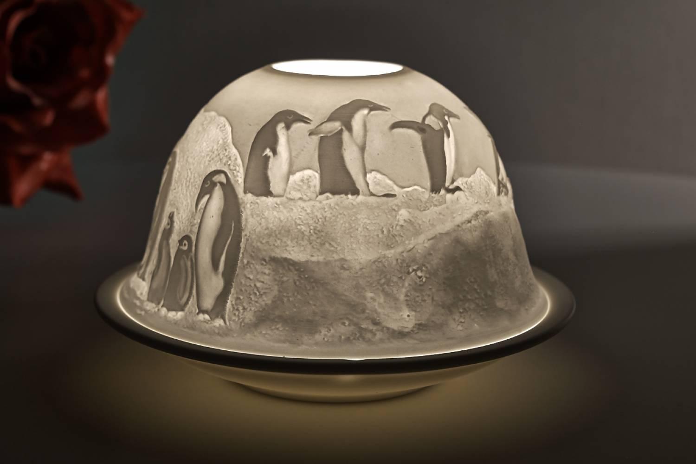 Windlicht Pinguin aus Porzellan Teelicht Teelichthalter Dome light  NEU