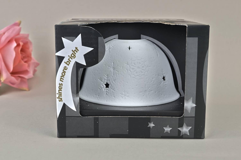 Kerzenfarm Hahn Dome-Light, Nr. 32006 Schnee - Teelicht Windlicht Dekoration Porzellanteelicht - 3