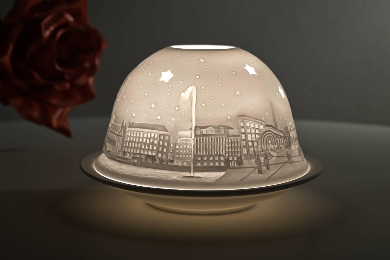 Kerzenfarm Hahn Dome Light Nr. 32014 Hamburg City - Teelicht Windlicht Dekoration Porzellanteelicht - 2