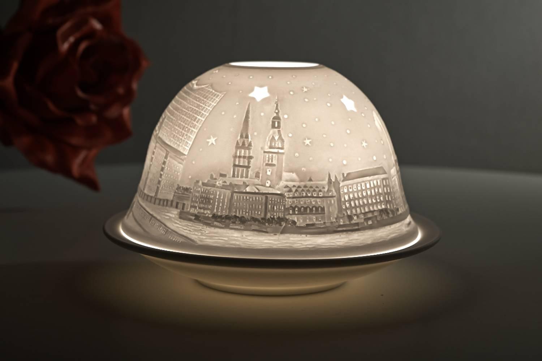 Kerzenfarm Hahn Dome Light Nr. 32014 Hamburg City - Teelicht Windlicht Dekoration Porzellanteelicht - 3