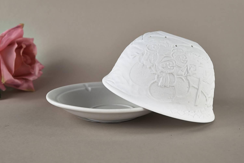 Kerzenfarm Hahn Dome Light Nr. 32015 Winter - Teelicht Windlicht Dekoration Porzellanteelicht - 3