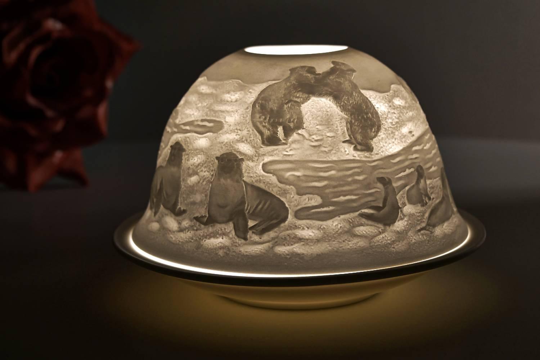 Kerzenfarm Hahn Dome Light Nr. 32017 Arktis - Teelicht Windlicht Dekoration Porzellanteelicht - 2
