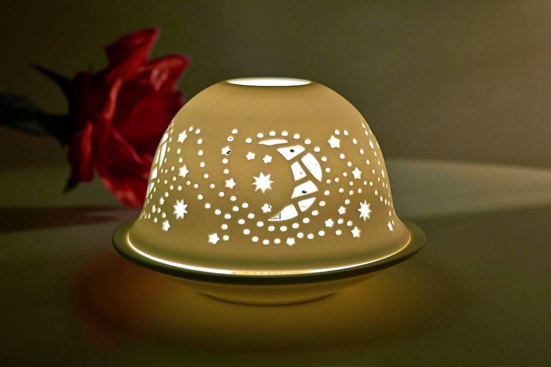 Kerzenfarm Hahn Dome Light Nr. 32019 Mond - Teelicht Windlicht Dekoration Porzellanteelicht - 2