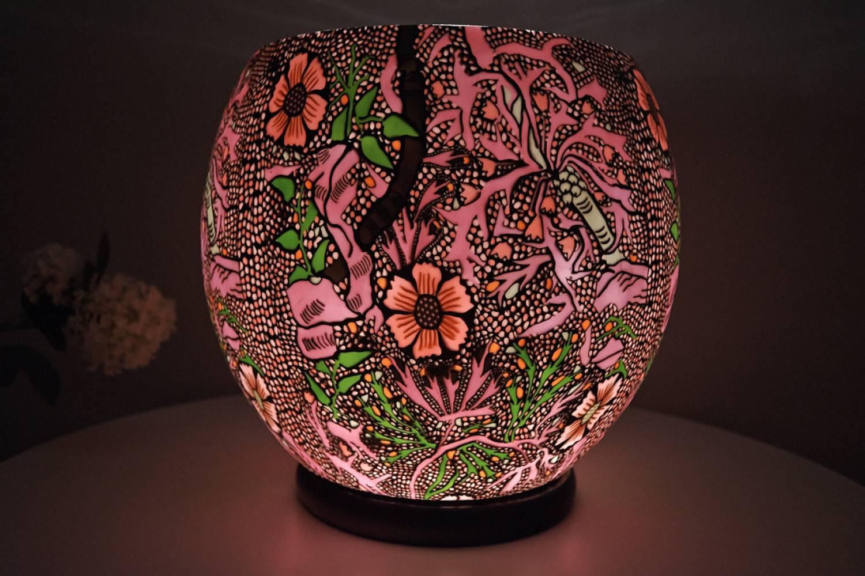 Leuchtglas XXL Lampe elektrisch 414 Sweet William Ø30cm Dekoration Windlicht Kerzenfarm - 2