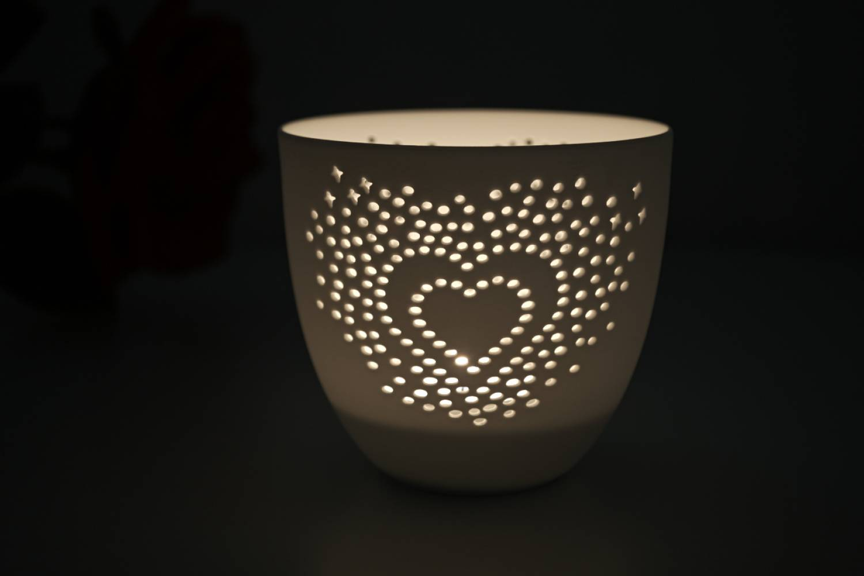 Porzellan-Becher Herz, Teelichthalter Windlicht Lichterzauber Tealight Cups - 2