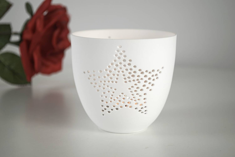 porzellan becher stern teelichthalter windlicht lichterzauber tealight cups leuchtglas versand. Black Bedroom Furniture Sets. Home Design Ideas