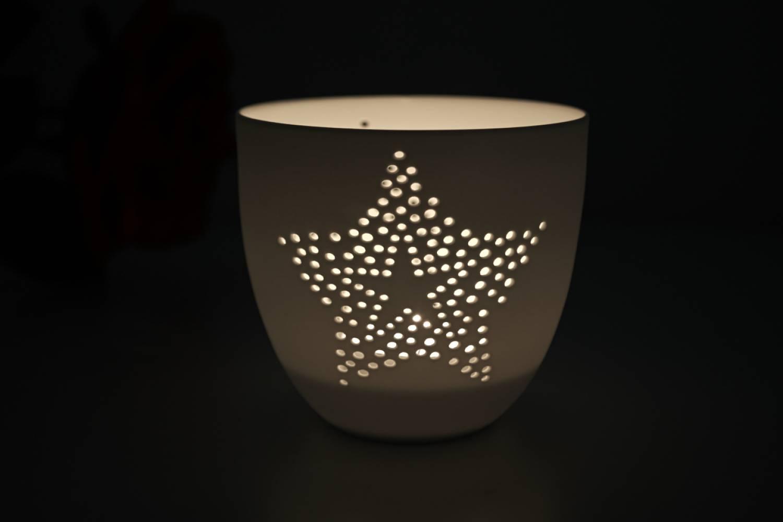 Porzellan-Becher Stern, Teelichthalter Windlicht Lichterzauber Tealight Cups - 2