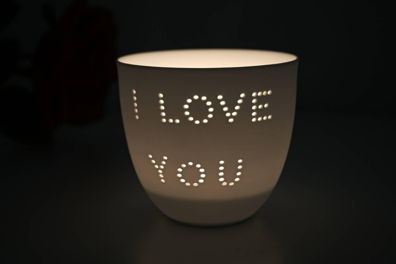 Porzellan-Becher Liebe, Teelichthalter Windlicht Lichterzauber Tealight Cups - 2