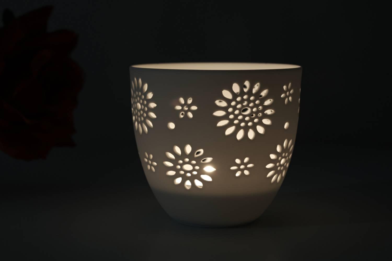 Porzellan-Becher Blumen, Teelichthalter Windlicht Lichterzauber Tealight Cups - 2