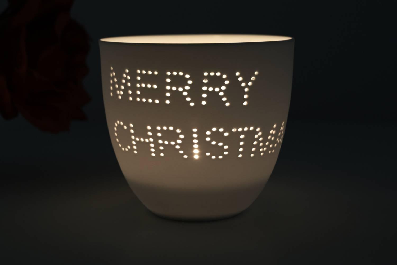 Porzellan-Becher Weihnacht, Teelichthalter Windlicht Lichterzauber Tealight Cups - 2