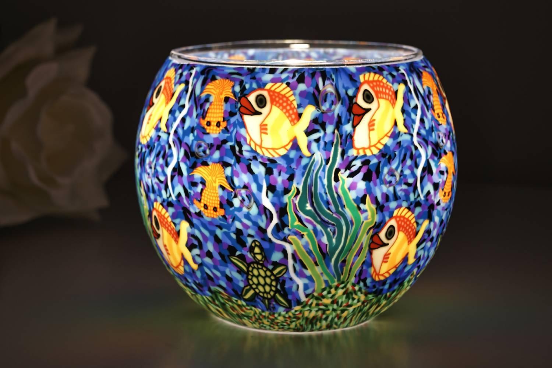 Leuchtglas 21001 Aquarium Ø11cm Dekoration Teelicht Windlicht Kerzenfarm Kerze - 2