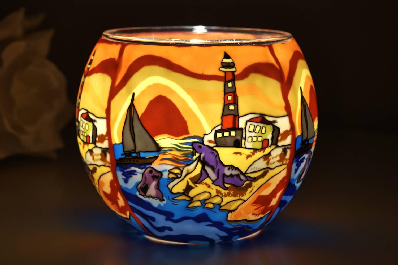 Leuchtglas 21002 Seaside Ø11cm Dekoration Teelicht Windlichthalter Kerzenfarm Kerze - 2