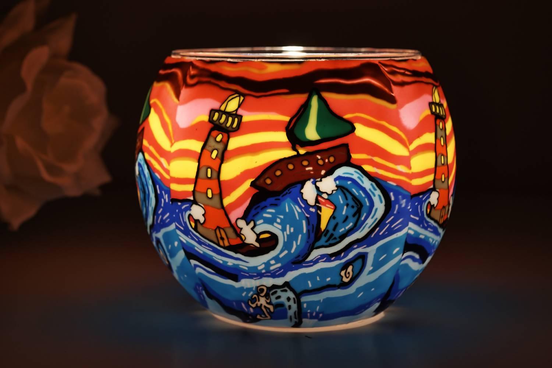 Leuchtglas 21003 Waves Ø11cm Dekoration Teelicht Windlichthalter Kerzenfarm Kerze - 2