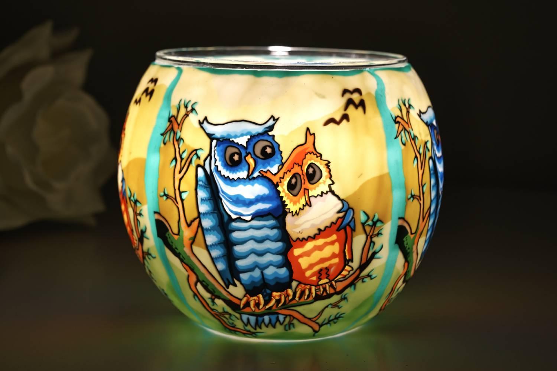 Leuchtglas 21110 Owls by day Ø11cm Dekoration Teelicht Windlichthalter Kerzenfarm - 2