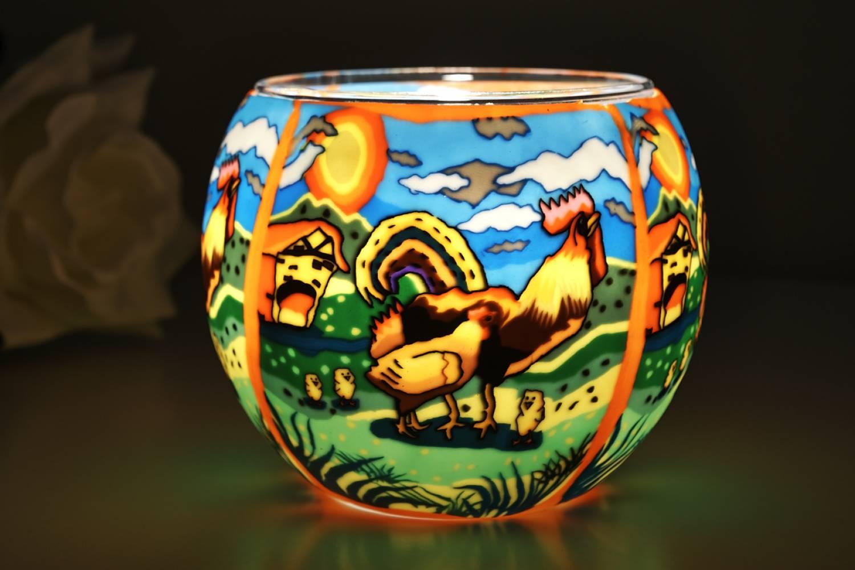 Leuchtglas 21120 Hahn Ø11cm Dekoration Teelicht Windlichthalter Kerzenfarm - 2