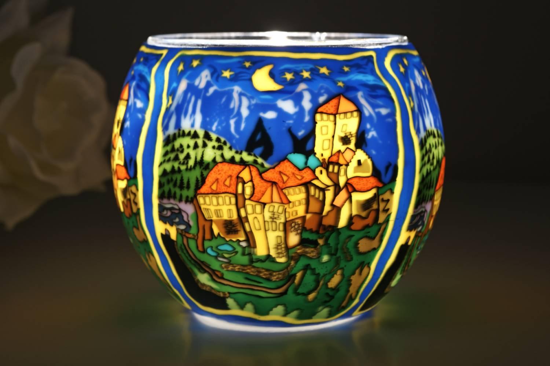 Leuchtglas 21635 Schloss Tirol Ø11cm Dekoration Teelicht Windlicht Kerzenfarm Kerze - 2