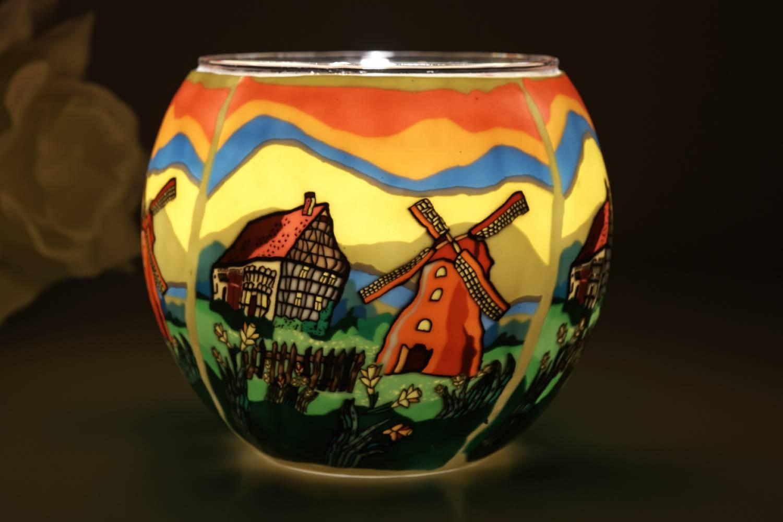 Leuchtglas 21636 Springtime Ø11cm Dekoration Teelicht Windlicht Kerzenfarm Kerze - 2