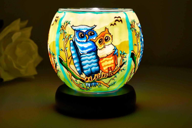 Leuchtglas Lampe 21110 Owls Ø11cm Dekoration Teelicht Windlicht Kerzenfarm Kerze - 2