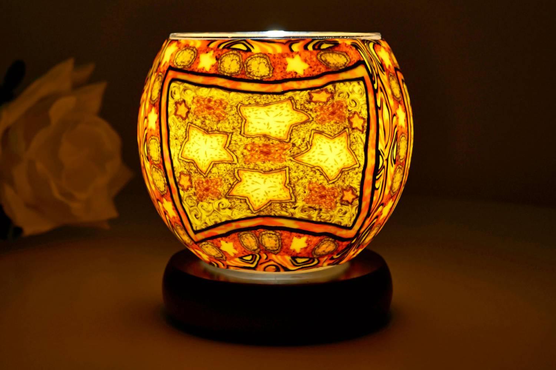 Leuchtglas Lampe 21201 - 4 sterne Ø11cm Dekoration Teelicht Windlicht Kerzenfarm Kerze - 2
