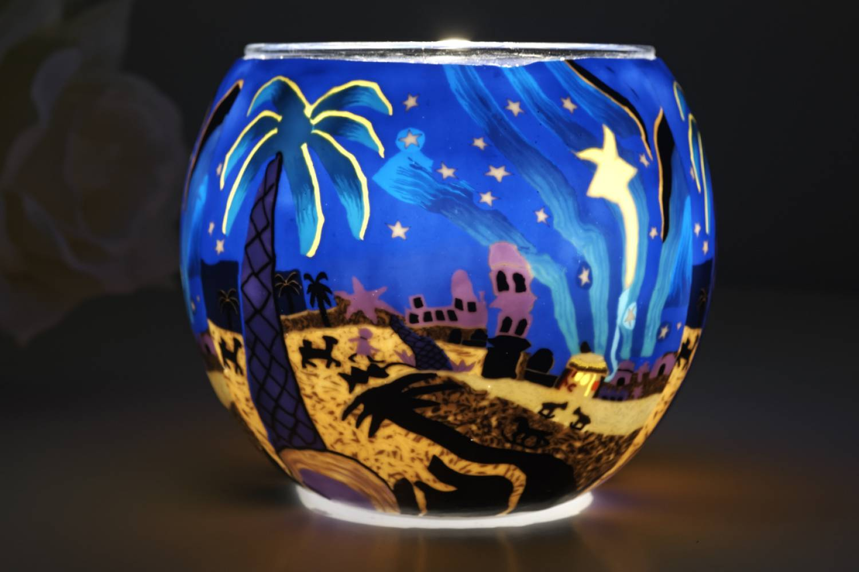Leuchtglas 21823 Bethlehem Ø11cm Dekoration Teelicht Windlicht Kerzenfarm Kerze - 2