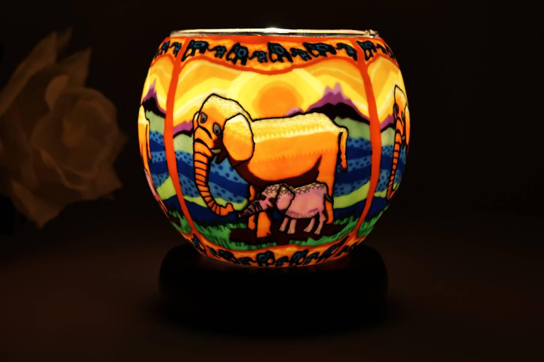 Leuchtglas Lampe 21121 Elefanten Ø11cm Dekoleuchte Teelicht Windlicht Kerzenfarm - 2