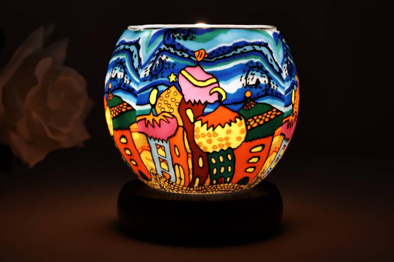 Elektrisches Leuchtglas Lampe Kerzenfarm 21638 Onion domes Ø11cm Windlicht Teelicht Dekoleuchte - 2