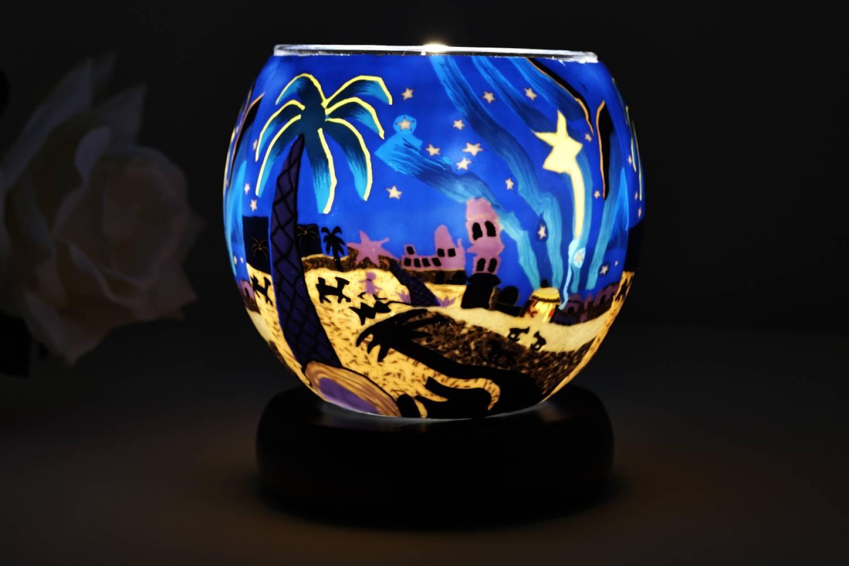 Leuchtglas Lampe Kerzenfarm 21823 Bethlehem Krippe Ø11cm Windlicht Dekoleuchte - 2