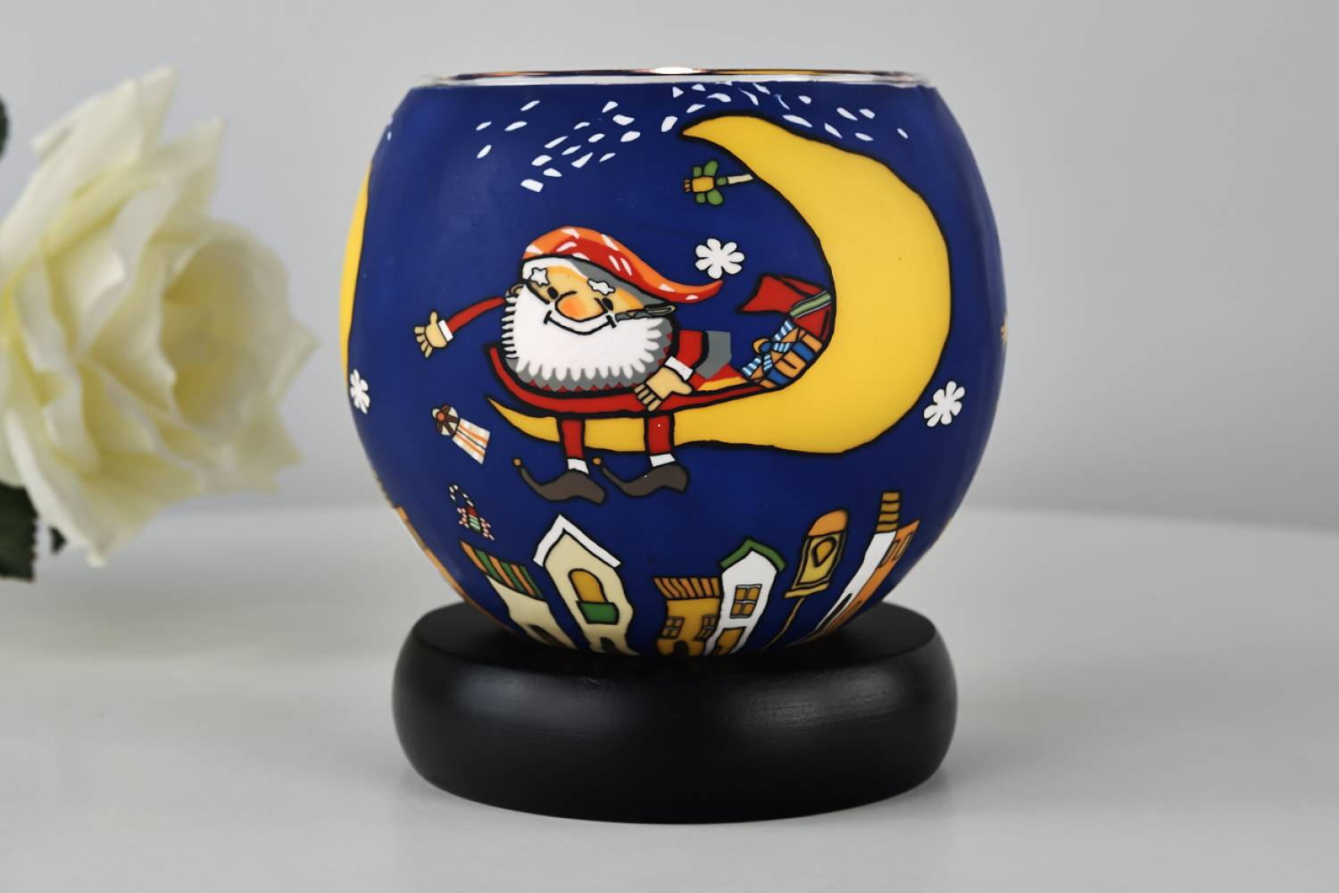 Leuchtglas Lampe Kerzenfarm 21824 Santa on the moon Ø11cm Windlicht Dekoleuchte